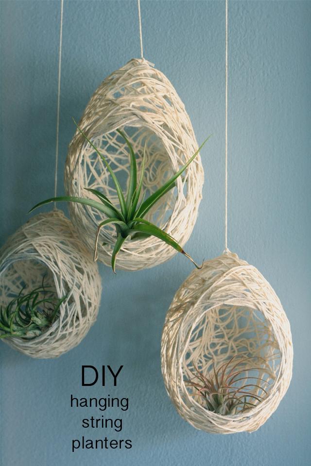 diy hanging string planters miss elaini ous. Black Bedroom Furniture Sets. Home Design Ideas